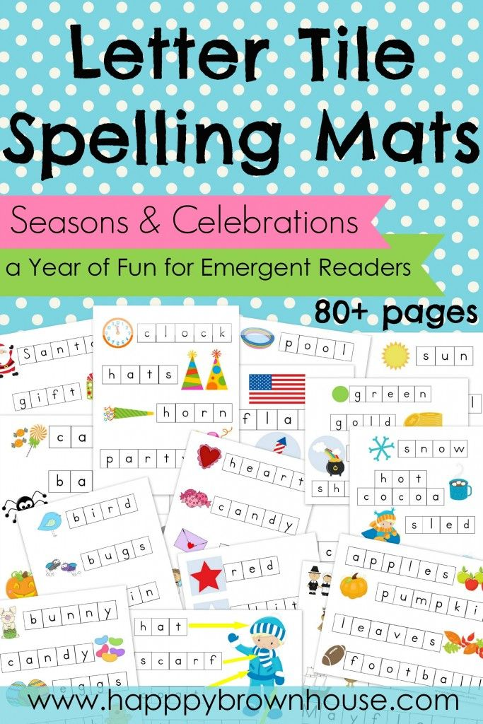 Letter Tile Spelling Mats Bundle (Seasons & Celebrations)--a year of fun for emergent readers. 80+ pages featuring 14 seasons and holidays throughout the year. www.happybrownhouse.com/shop/