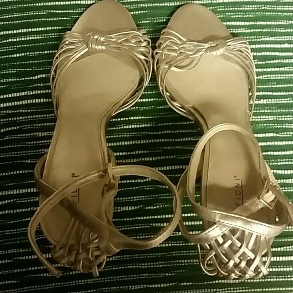 Gold open toe heels Wore once for Xmas work party won't wear again ;) FIONI Clothing Shoes Heels