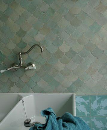 love these scale shaped tiles! originally spotted here http://www.apartmenttherapy.com/chicago/bathroom/moroccan-bathrooms-inspiration-gallery-112166