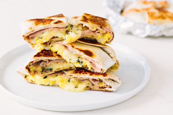 This is your classic ham, egg, and cheese breakfast sandwich reimagined into a freezer-friendly quesadilla. Creamy scrambled eggs are piled between slices of deli ham, along with a layer of mild, nutty Gruyère and a swipe of Dijon, for a hot, make-ahead breakfast that will get you excited for the morning meal.