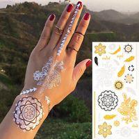 2015 Новая Мода на Окружающую Серебристый Металлик Золото Временные Татуировки Sexy Ожерелье Браслет Татуировки Перо Якорь Наклейки