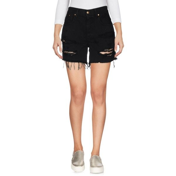 (+) People Denim Shorts ($69) ❤ liked on Polyvore featuring shorts, black, high rise denim shorts, high-waisted denim shorts, destroyed denim shorts, high rise shorts and distressed denim shorts