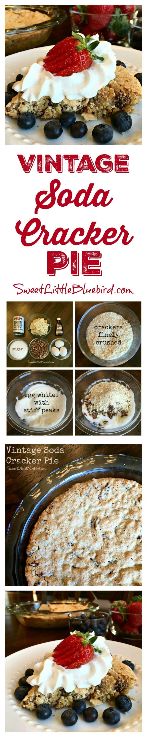 VINTAGE SODA CRACKER PIE (a.k.a,  RITZ CRACKER PIE)  - This is the best pie and so simple to make! Don't be scared by the name, even though there are crackers in the pie, you don't taste them at all. This homey desert tastes a little like pecan pie, but not nearly as sweet...it's just right...so so right. I love this oldie but goodie cherished recipe!