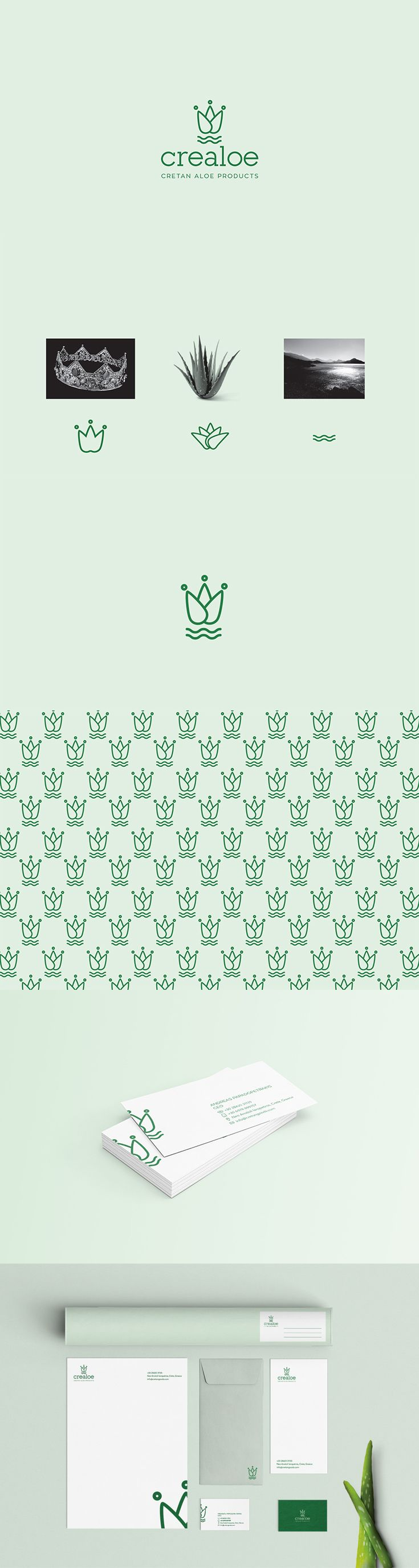 """Logotype for the company Crealoe. The word Crealoe came from the words """"Cre"""" (Cres: the first king of Crete where it got its name) and """"aloe"""" from the Aloe Vera plant which is the basic material of the company's products. The logo resulted from the union of these elements by creating a symbol that has a story to tell."""