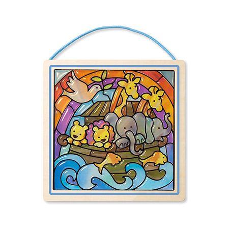 Cette activité permet aux jeunes artistes tout dont ils ont besoin pour créer un capteur de lumière. Découvrez l'Arche de Noé et une ménagerie d'animaux souriants. Il est facile à créer : il suffit de jumeler les autocollants avec la planche numérotée.  6 ans et +