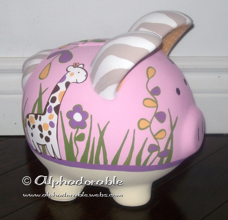 17 best images about painted piggy banks on pinterest for How to paint a ceramic piggy bank