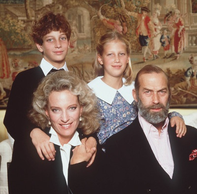 Prince & Princess Michael of Kent with their children, Lord Freddie and Lady Gabriella, 1990.