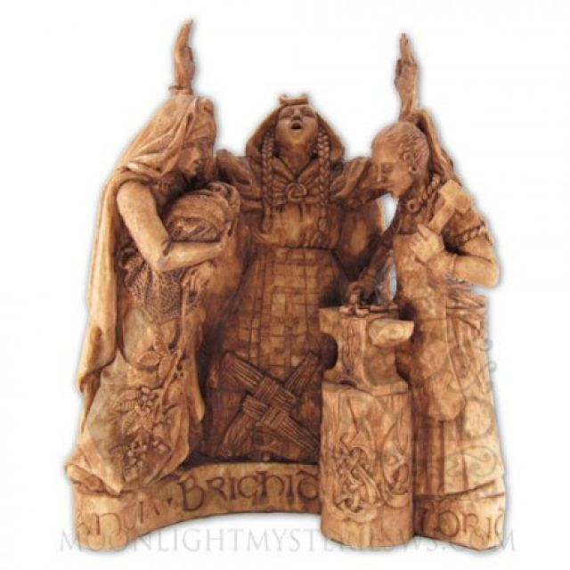 Statue - Brigid - Dreifache Göttin - Triple Goddess - Holzoptik - Dekoration - Ritualbedarf - McOnis Handelskontor