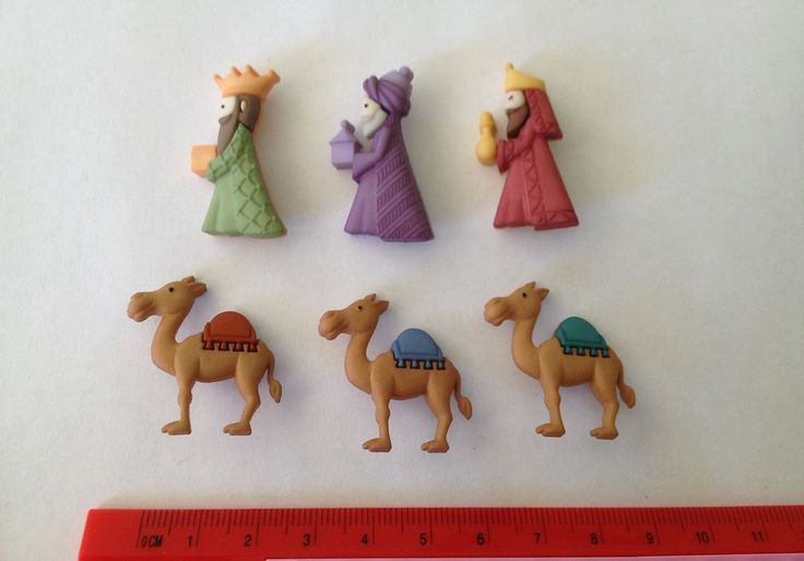 Novelty Dress It Up Buttons - 3 wise men with presents & brown camels 8048