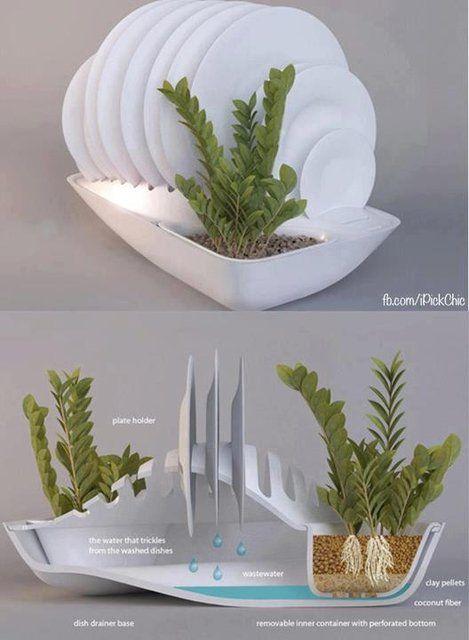 A água de seus pratos vai para as plantas!