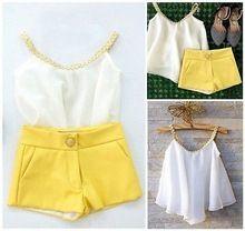 2Pcs/set  Kids Toddler Baby Girls Chiffon Clothes Halter Tops Shirt +Pants…