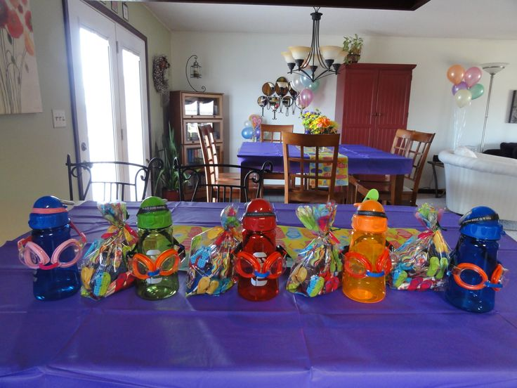 Pool Party Favors For My Sons Birthday Inside The Cups I Put Goggles Bubbles A Glow Stick Freeze Pop Swedish Fish Water Gun And Fi