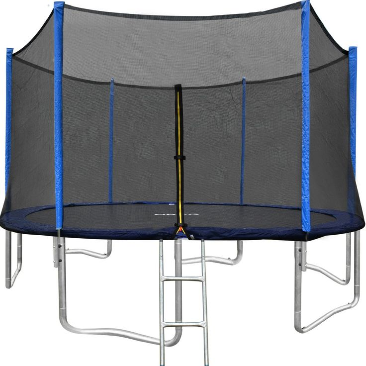 ORCC 15FT 12FT Trampoline with Enclosure Net and Wind Stakes Rain Cover Ladder are Included Spring Pull T-hook 2016 Upgrade