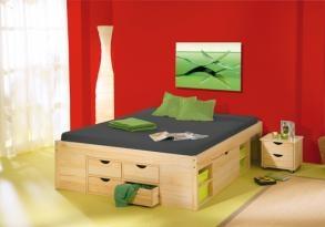 Claas fenyõ franciaágy 180x200 cm  Praktikus, minden oldalán pakolási felülettel ellátott franciaágy 2 éjjeliszekrénnyel, ágyráccsal.  Részletek:   - a bútor anyaga natur lakkozott tömör fenyõ  - kialakítása fotó szerinti kihúzható fiókokkal, éjjeli szekrényekkel  - éjjeli szekrény az ágy alól teljesen kihúzható, mérete: 40 x 35 x 40 cm (szélxmagxmélys)  - szín: natur fenyõ
