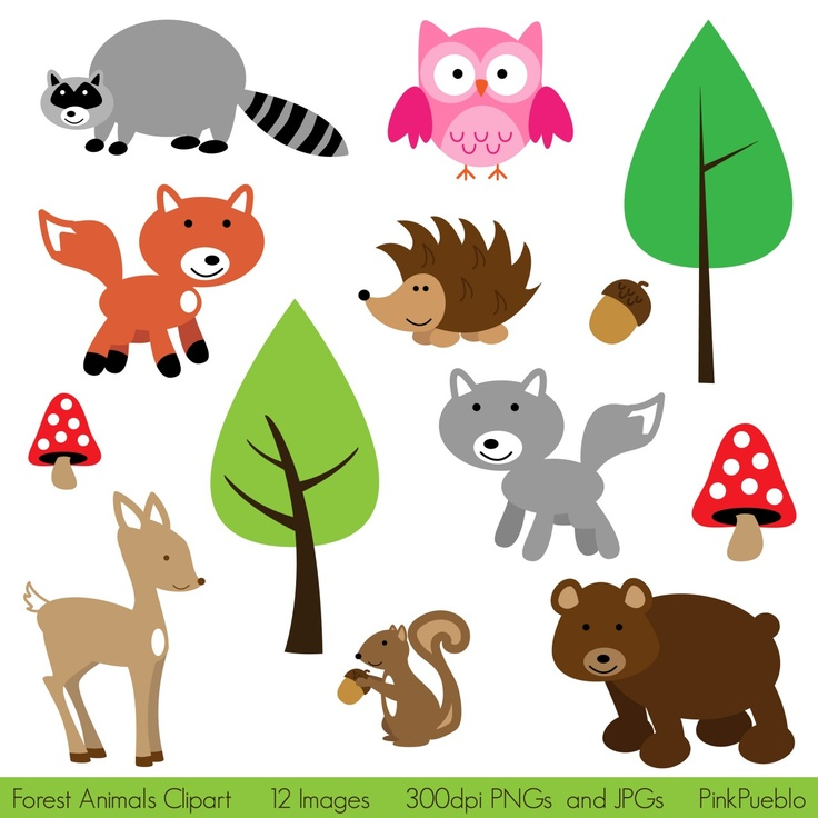 Forest Animals Clipart - Print Candee