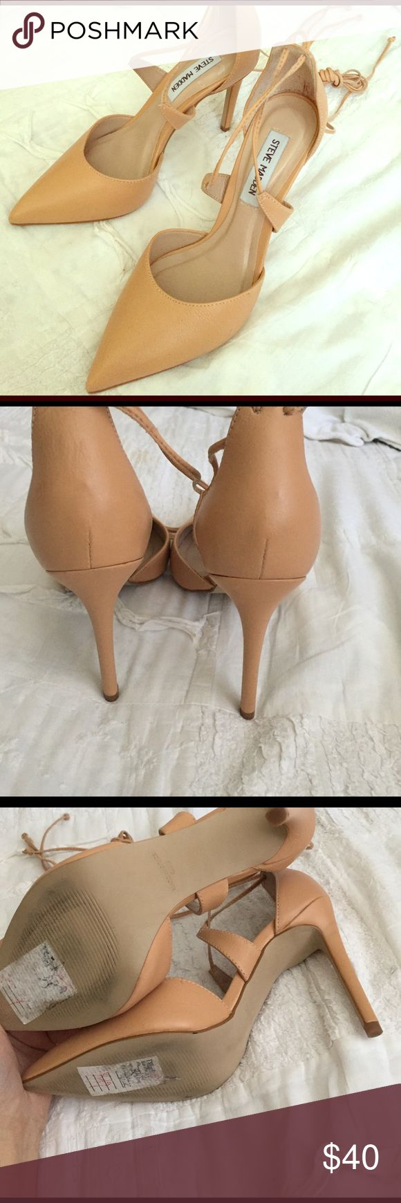 Steve madden nude wrap pointes Worn once, bought brand new from dillards (still has sticker label) original $98.00. Clean #nude #anklewrap #pointed heels #stevemadden. #evolkeeks Steve Madden Shoes Heels