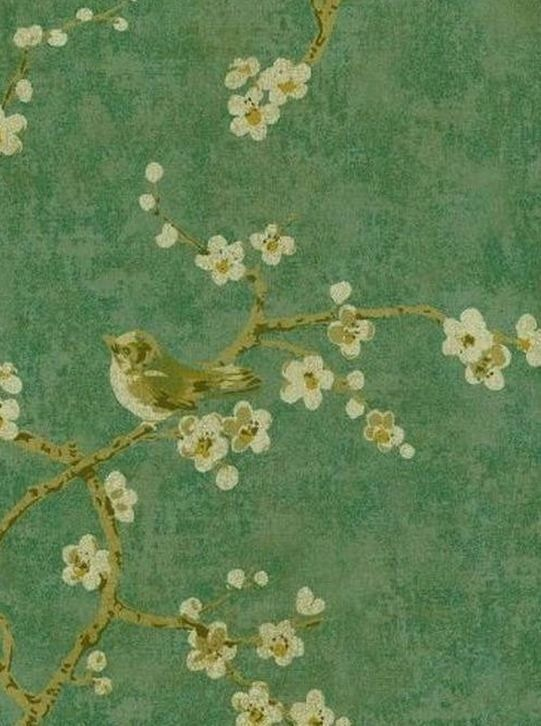WALLPAPER BY THE YARD Gold Birds Tree Blossoms Asian Inspired Green Oriental