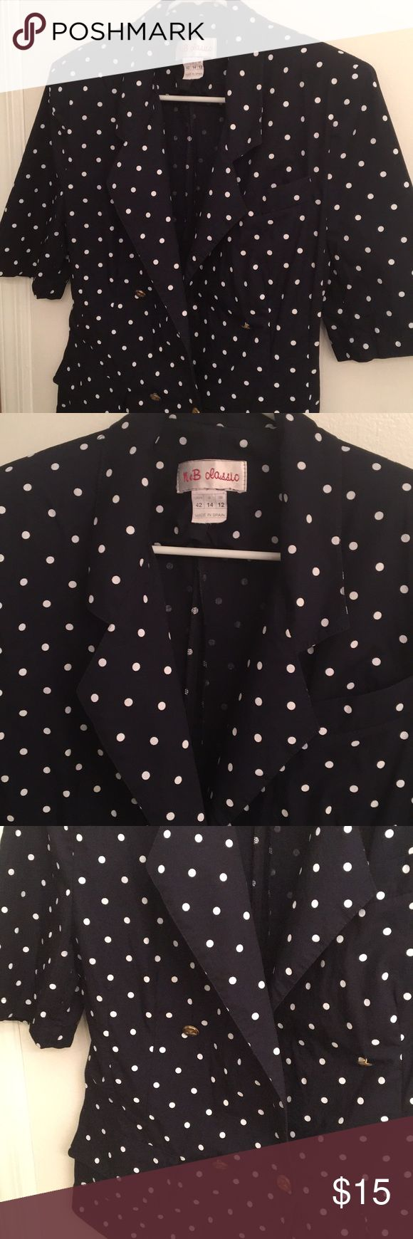 "Navy Blue Cotton Blazer L 25"". Like new.  Ideal for Spring & Summer Zara Jackets & Coats Blazers"