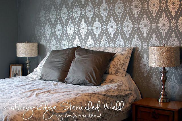 love the stenciled wall, LOVE the lamps: Projects, Metals Paintings, Cut Edge Stencil, Damasks Stencil, Cutting Edge Stencils, Martha Stewart, Families, Stencil Wall, Accent Wall