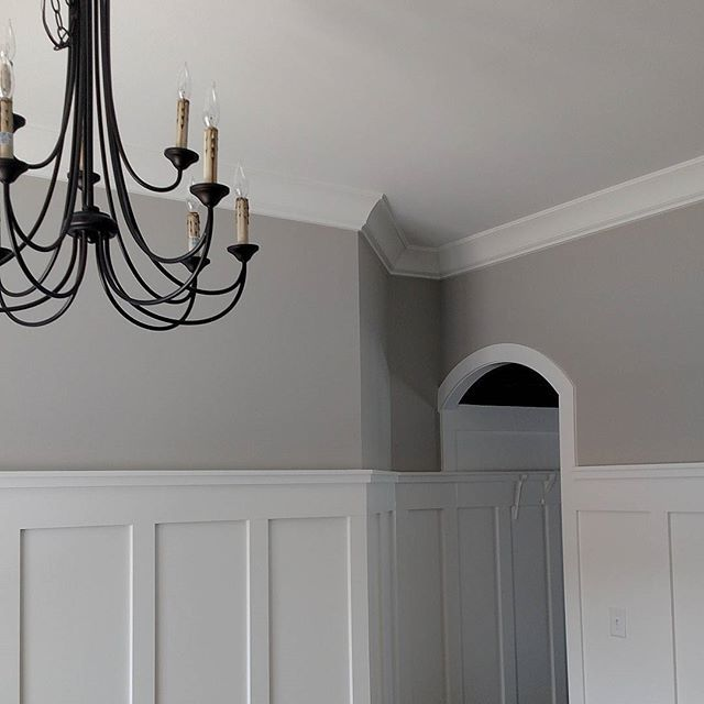 So many pretty things starting to come together at my clients new home.  #interiordesign #interior #design #newconstruction #lighting #wainscot #wainscoting #boardandbatten #farmhouse #springhill #nashville