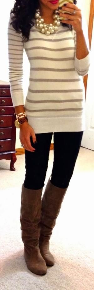 Beige/cream striped sweater, black skinny jeans, brown boots, pearl statement necklace, tortoiseshell watch, gold bracelet