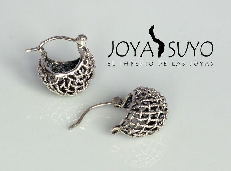 Argollas pequeñas en plata envejecida y filigrana  5.2gr S/. 75  www.joyasuyo.com