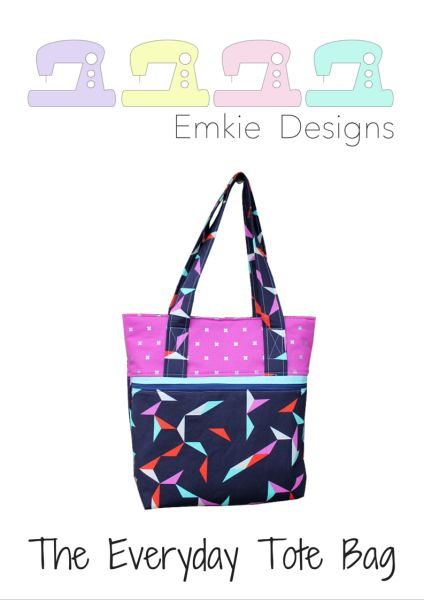 "The Everyday Tote Bag  PDF sewing pattern by Emkie Designs  The Everyday Tote Bag is a great day bag with a large main pocket.   The bag has many pockets to keep everything in their place; it has 2 zip pockets (one large – external – and one small – internal) and a divided slip pocket for your phone or keys.   The finished size of the Everyday Tote Bag measures approximately 11"" tall x 13"" wide x 3 1/2"" deep (28cm x 33cm x 9cm)."