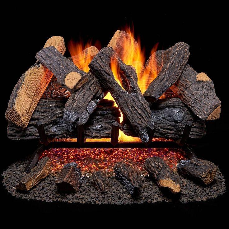 Duluth Forge Vented Gas Fireplace Log Set - 30 in.,,000 BTU, Heartland Oak