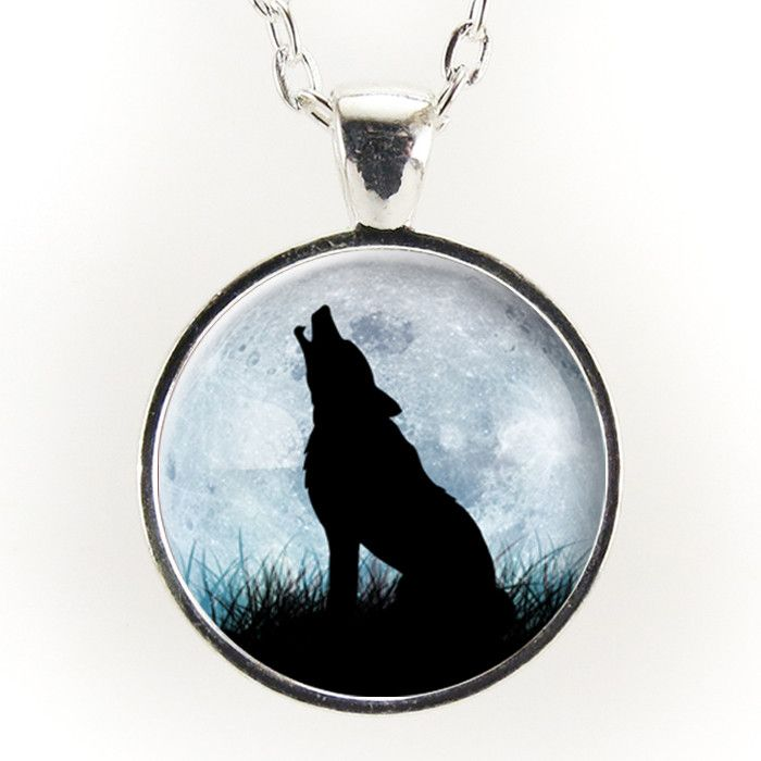 Wolf Howling At the Moon Necklace, Wolf Jewelry