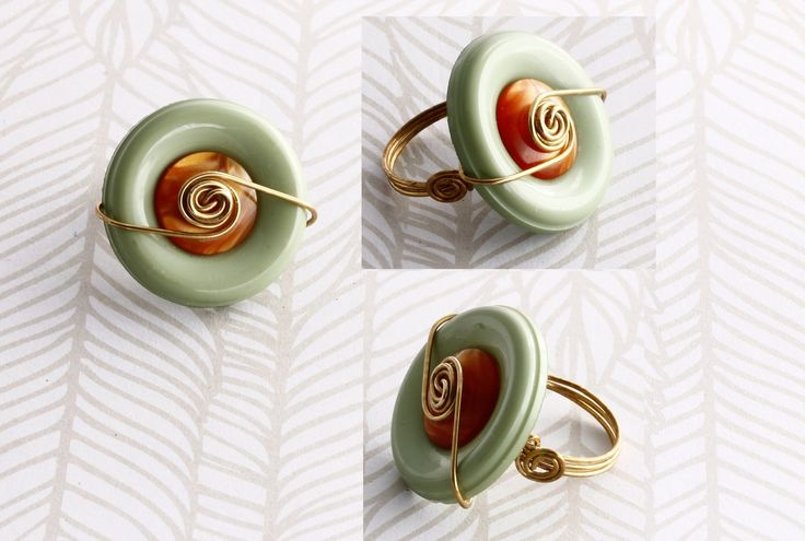 Gorgeous double buttons wire wrapped ring https://www.facebook.com/KalitheoCreations  #ring #love #lime #bronze #gift #kalitheo
