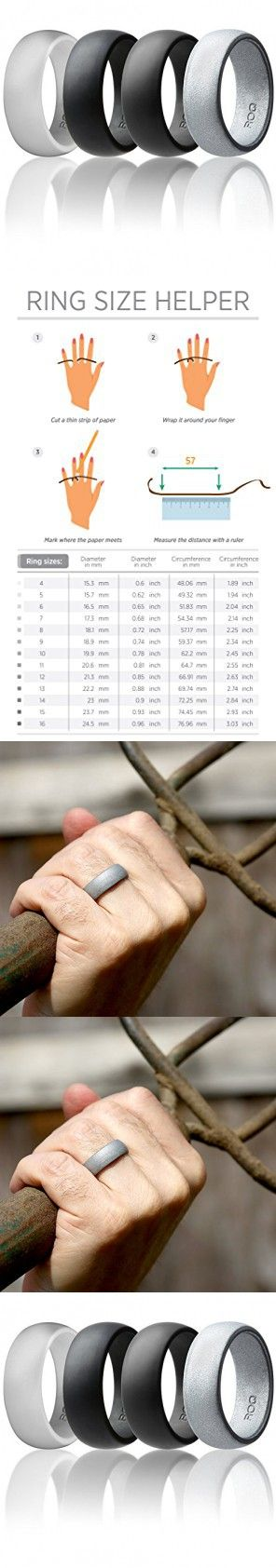 Silicone Wedding Ring For Men By ROQ Affordable Silicone Rubber Band, 4 Pack - Light Gray, Metal Look Silver, Black, Grey - Size 14