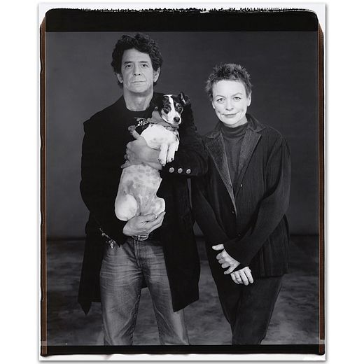 "// Mary Ellen Mark, ""Laurie Anderson with Lou Reed and their Dog,"" Manhattan, New York 2001"