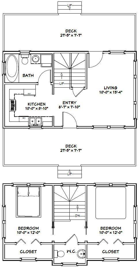 28x16 Tiny House -- #28X16H3A -- 821 sq ft - Excellent Floor Plans