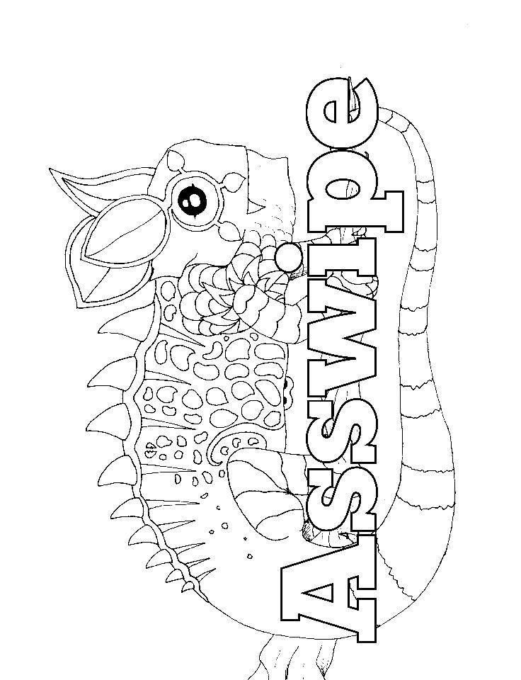 Swear word coloring page lizard
