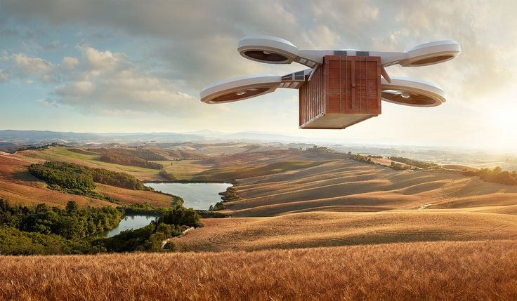 Advertising conceptual photo. Drone in Tuscany