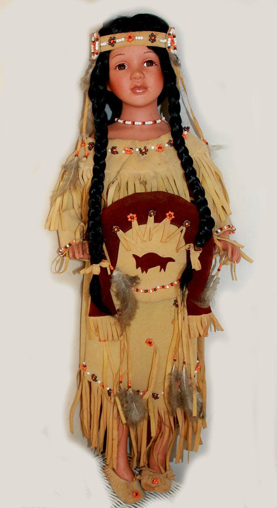 ON SALE Goldenvale American Indian Large by ShoreHouseDrygoods, $185.00  18 inch doll Kaya Folk