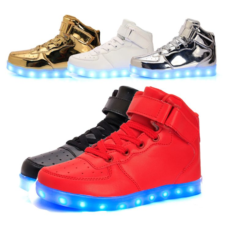 Size 25-37// USB Charging Basket Led High Top Children Shoes With Light Up Kids Casual Boys & Girls Luminous Glowing Sneakers