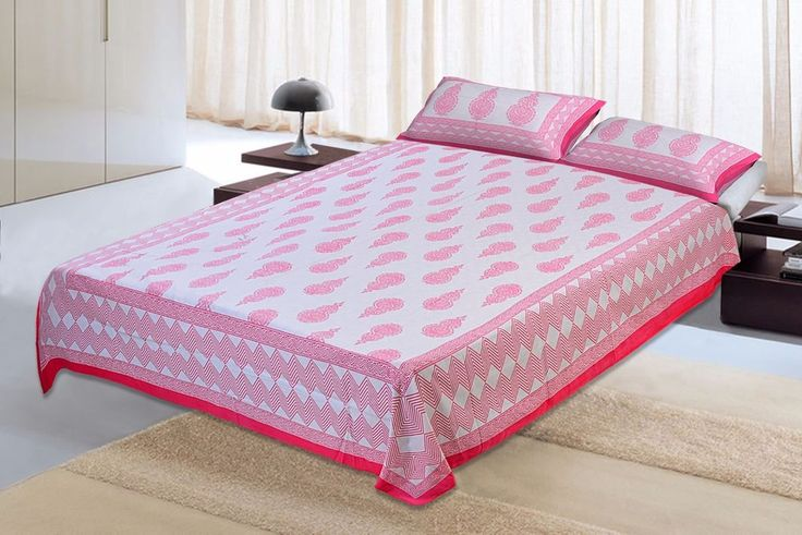 Pillow Cover Bedspread Indian Jaipuri Cotton King Bed sheet Bed Covers with 2 #Unbranded #Asian
