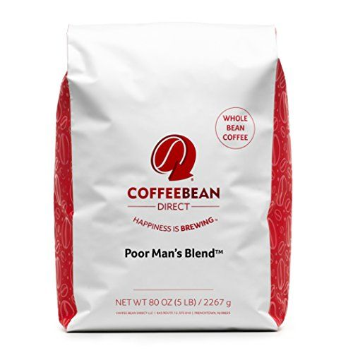 Coffee Bean Direct Poor Man's Blend Coffee, Medium Roast, Whole Bean, 5 Pound.    One 5 pound bag of Poor Man's Blend whole bean coffee  This medium roast is a strong, full-flavored coffee with a balanced body and moderate acidity  Cupping Notes: Sugar Cane | Citrus | Dark Chocolate | No Flavoring Added  Putting café quality small batch, artisan coffee in your coffeemaker  Roasted in the USA