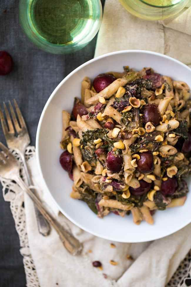 RAINBOW CHARD WITH PENNE AND GOAT CHEESE WHITE WINE SAUCE {GLUTEN FREE}