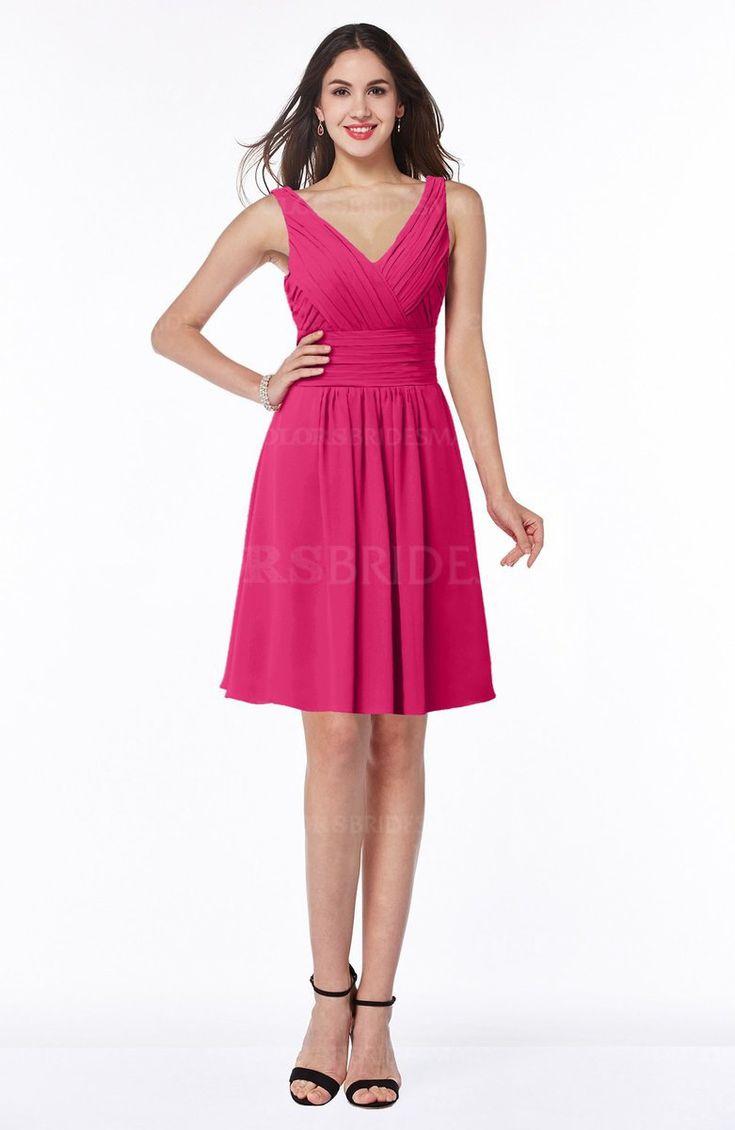 Fuschia Plain Sleeveless Half Backless Chiffon Knee Length Ruching Plus Size Bridesmaid Dresses (Style D48452)