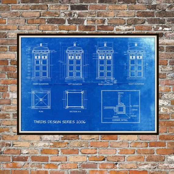 Tardis Print Poster Dr Who Blueprint The Tardis by BigBlueCanoe