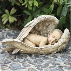 Sleeping baby in angel wings outdoor garden statue - simply the sweetest!