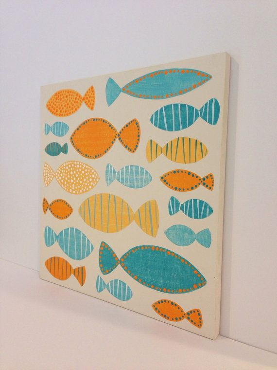 Original hand painted Blue Orange and White Nautical Fish Wall Art, Nautical Nursery Art, Kids Bathroom Art, Ocean Art, Nursery Decor