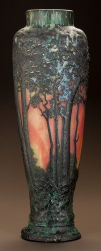 Art Glass:Daum, DAUM OVERLAY GLASS AUTUMN VASE. Circa 1900. ...