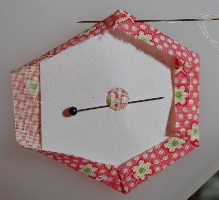 Scrapbox Quilts: Hexagon Tutorial - Supplies & Basting > nice idea with the hole in the middle.