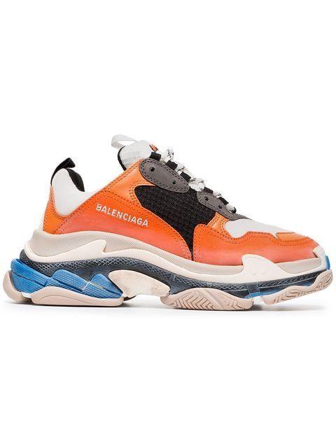13755980c3b39 Shop Balenciaga Orange and Multicoloured Triple S Sneakers