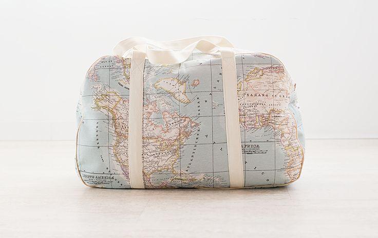"MbM: Gran bolso ""Oversize"" con tela mapamundi"