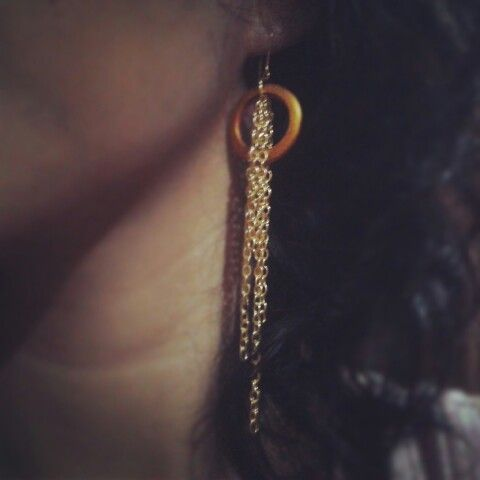 DIY earing from old ring and new chains