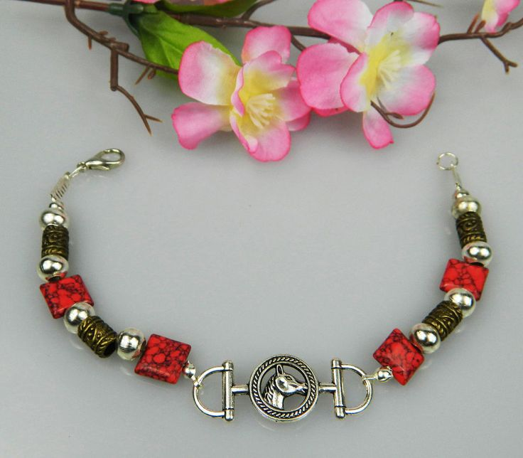 HORSE JEWELLERY BRACLET RED TURQUOISE GEMSTONES WITH HORSE DESIGN BRAND NEW #2